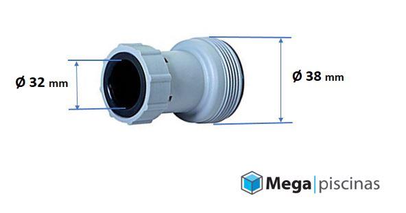 Adaptador de manguera depuradora 38 mm a 32 mm