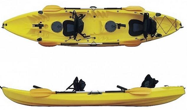 kayak rigido tres plazas con asientos y remos