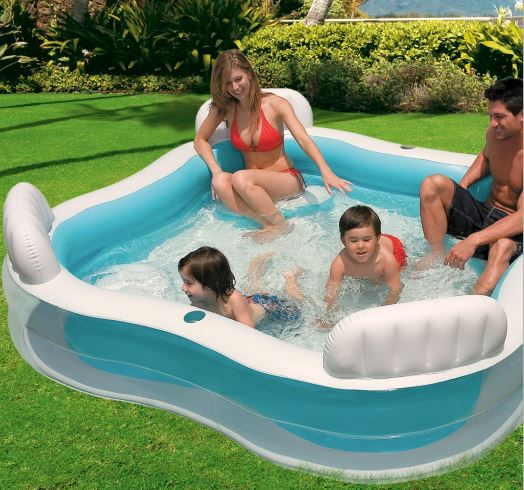 Piscina hinchable familiar con asientos megapiscinas for Piscina intex cuadrada