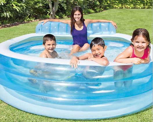 Piscina hinchable con sill n piscina con asiento hinchable for Piscina hinchable con depuradora incluida