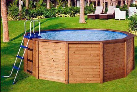 Piscina redonda de madera natural 315x105 megapiscinas for Montaje piscina bestway