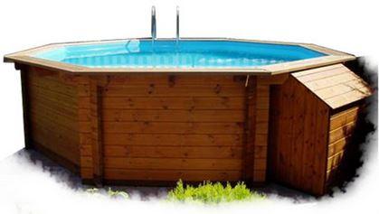 Piscina de madera hexagonal clorador salino megapiscinas for Montaje piscina bestway