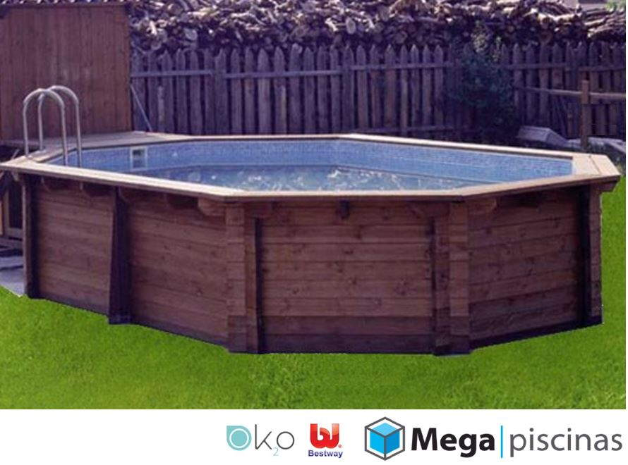 Piscina desmontable de madera hexagonal megapiscinas for Hacemos piscinas